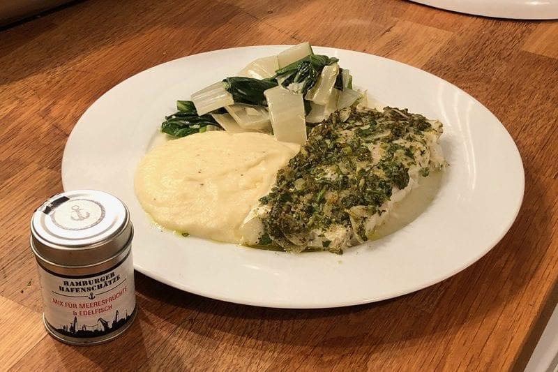 """Kabeljau mit Petersiliendecke mit Hamburger Hafenschätze """"Mix für Meeresfrüchte und Edelfisch"""""""